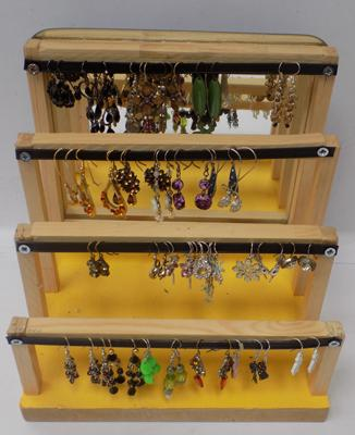 Approx 30 pairs of fashion earrings on display stand