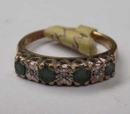 Vintage 9ct gold emerald & diamond ring - approx. 2.7 grams