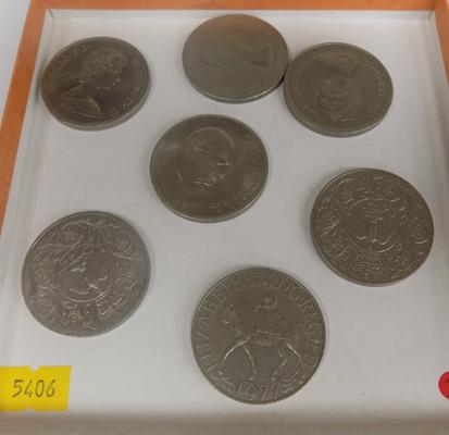 Collection of seven crown coins