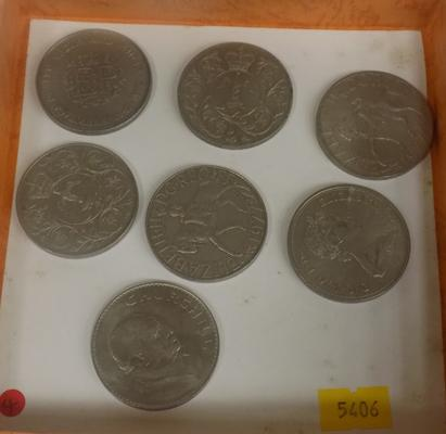 Collection of 7 crown coins