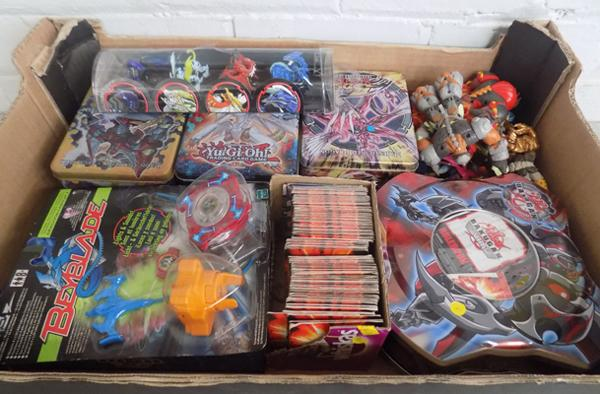 Selection of figures, cards, games etc. including; yu gi oh/ bakugan / bayblade's / gormitlins