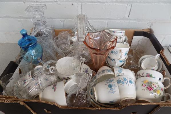 Large box of china & glassware incl. Colclough, Tuscan, Queen Anne etc...