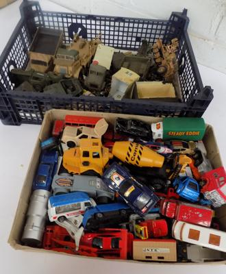 Two boxes of cars + spare model parts, army tanks etc...