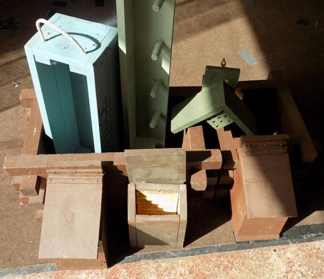 Selection of planters, bird boxes etc.