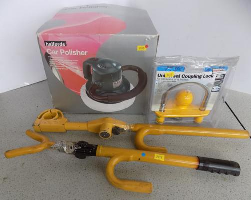 2 steering locks and coupling lockand car polisher.