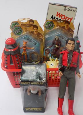 Basket of vintage toys & others, incl. Bobbleheads