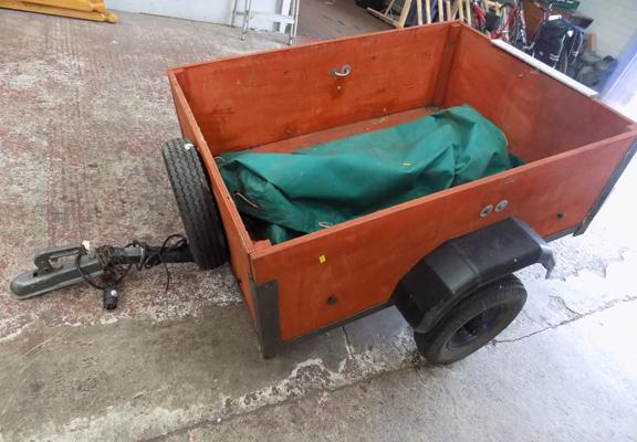 4ft x 3ft trailer with lights and canopy cover, new wheel bearings and spare wheel