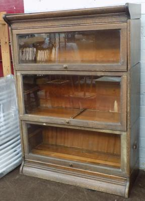 Antique Globe Wernicke 3 stack glass front bookcase
