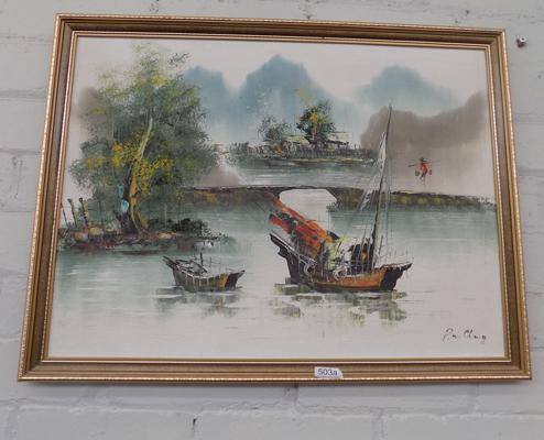 Vintage Chinese oil painting