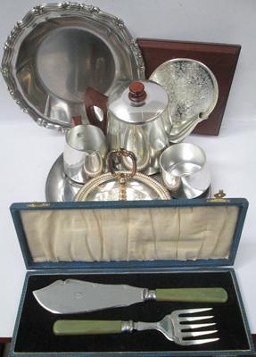 Vintage Sona tea-set and other metalware items
