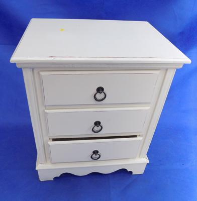 Bedside cabinet, white, three drawers