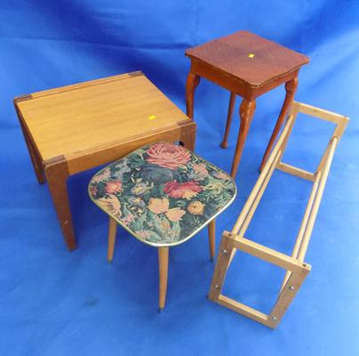 Selection of small side tables + wooden extending shoe rack