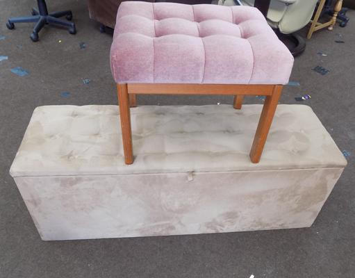 Cloth covered blanket box and dressing table stool