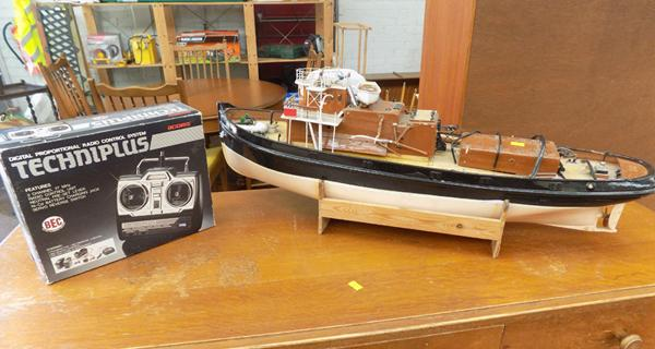 Vintage R/C boat and controller