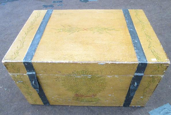 Vintage painted blanket box with metal bands