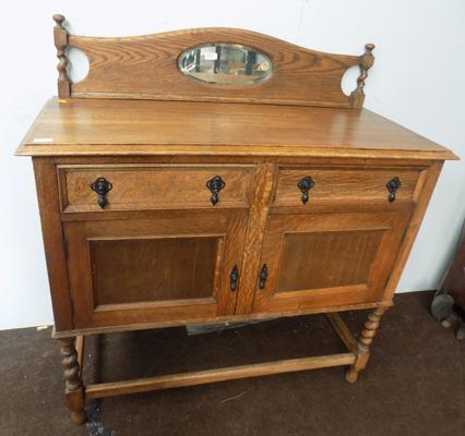 Wooden oak sideboard with mirror to back (key in office)