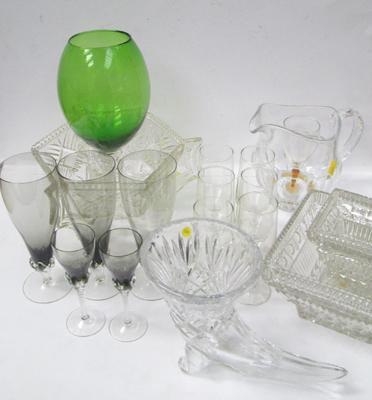 Selection of cut glass and crystal items including coloured glass