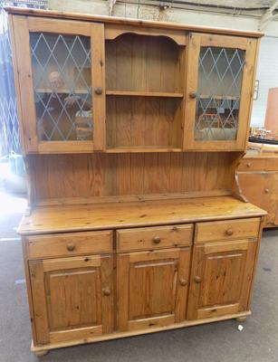 Large pine dresser with glazed top
