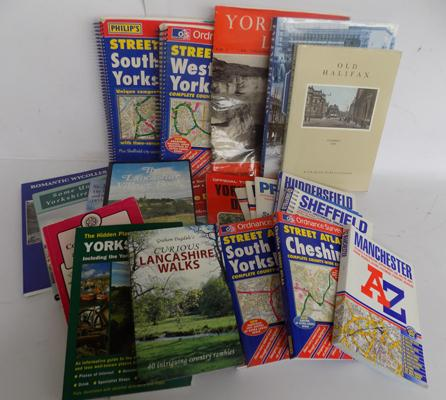 Box of Yorkshire and Lancashire maps and guide books