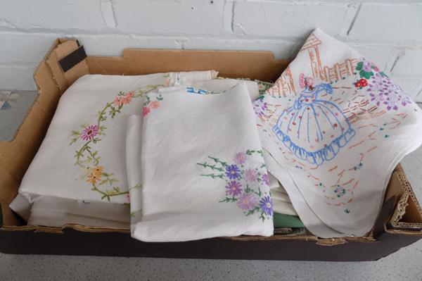 Box of vintage embroidered linen etc...