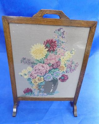 Embroidered fire screen - approx. 31 inch tall