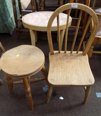 Wooden child chair & wooden stool - vintage