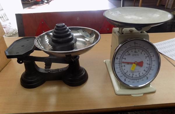 Cast iron weighing scales x 2