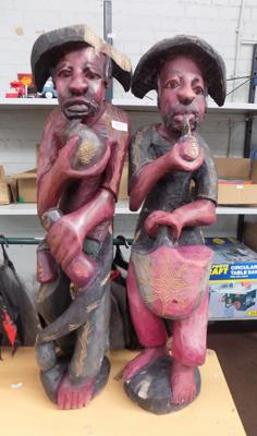 2x wooden figures over 2 ft tall-some damage