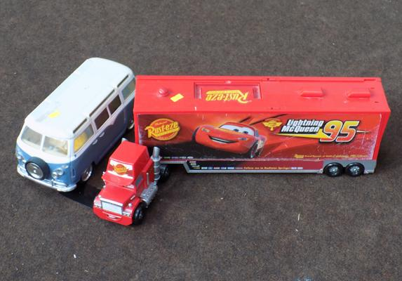 Cars track transporter (empty) and VW Camper