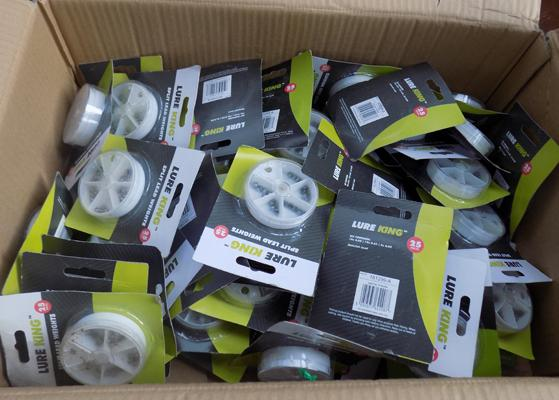 Large box of new fishing weights