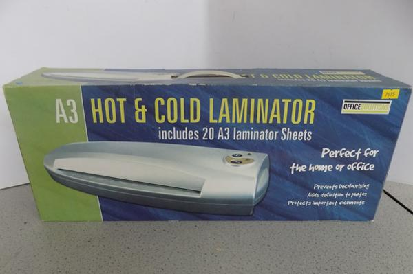 A3 hot and cold boxed laminator in working order