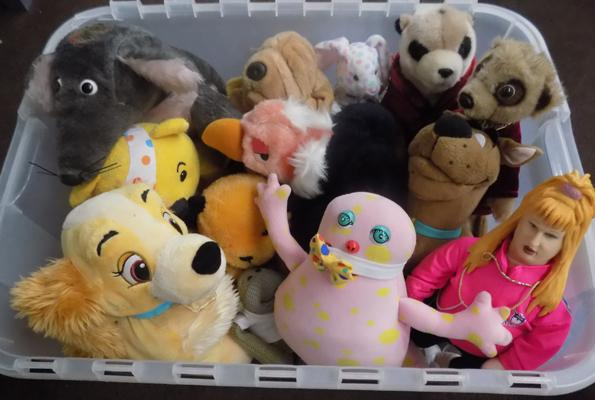 Box of soft toys, incl. Sooty & Mr Blobby etc...