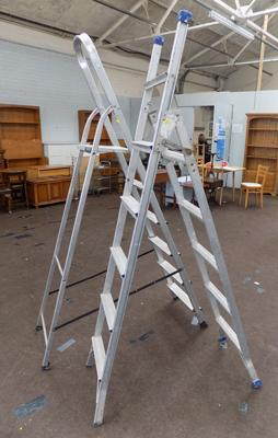 Two aluminium ladders - one step ladder & one 3 way ladder