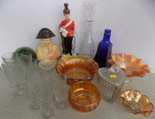 Selection of glass inc carnival glass