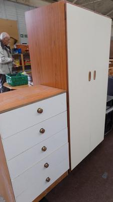 Small two door wardrobe & chest of 5 drawers