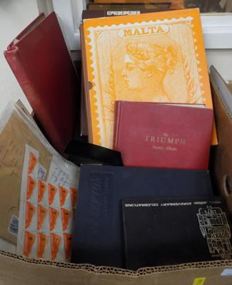 Box of stamps, albums etc