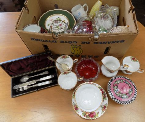 Box of mixed collectables Royal Albert old country rose and silver spoon