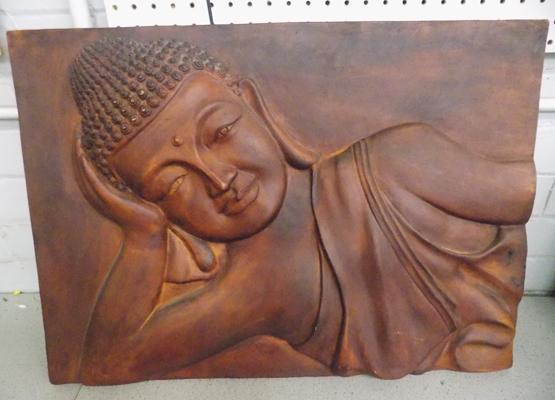 Large wooden Buddha picture