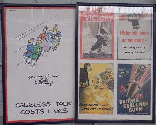 Two WW2 public information posters in frames