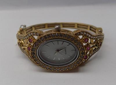 Gold on silver stone set watch - working order