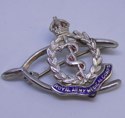 Vintage silver and enamel 'Army medical corp' brooch