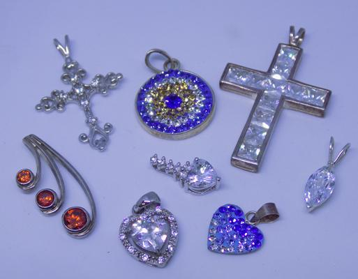 Selection of 925 silver pendants - various designs