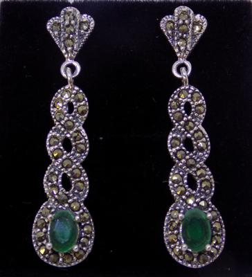 Pair of silver, emerald & marcasite earrings