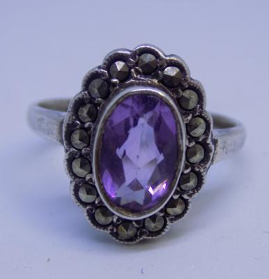 Silver Art Deco style ring with Amethyst centre stone and marcasite detail