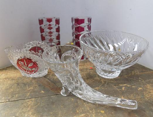 5 pieces of cut glass including French glass