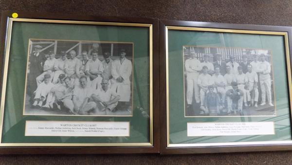 2 framed photos of Warton Cricket Club teams of 1926 and 1937