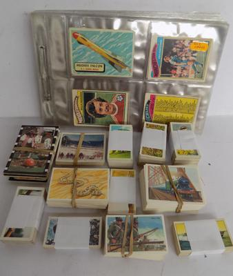 Pages of & box of cigarette cards