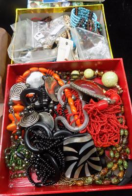 Two boxes of costume jewellery