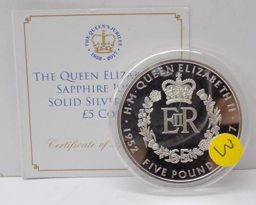 10z silver £5 coin with certificate of authenticity