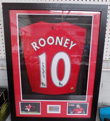 Wayne Rooney signed football shirt - certificate on back